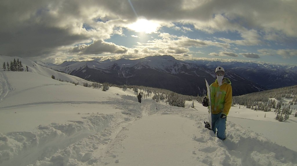 Jedidiah Tan at the top of Blackcomb mountain in Whistler, BC
